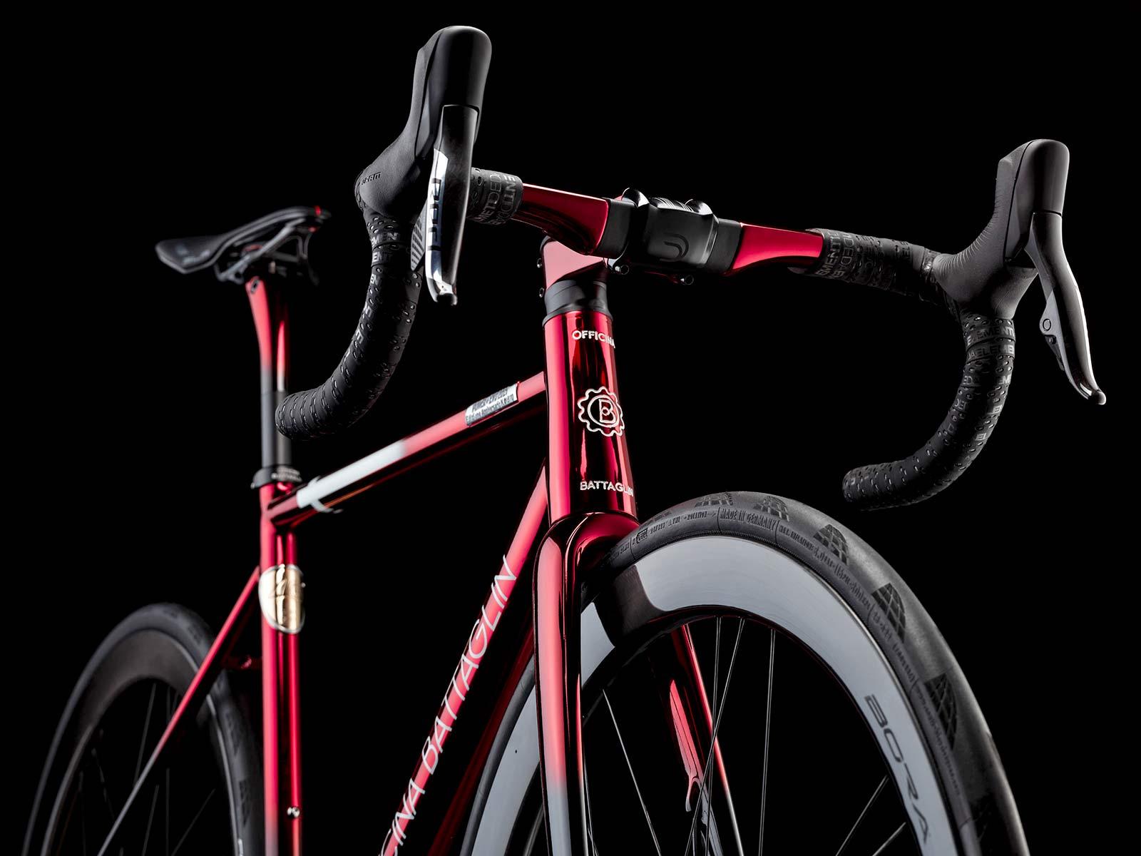 2021 Battaglin Power Plus EVO Edizione Anniversario custom Italian steel integrated road bike, 40th anniversary limited edition,front