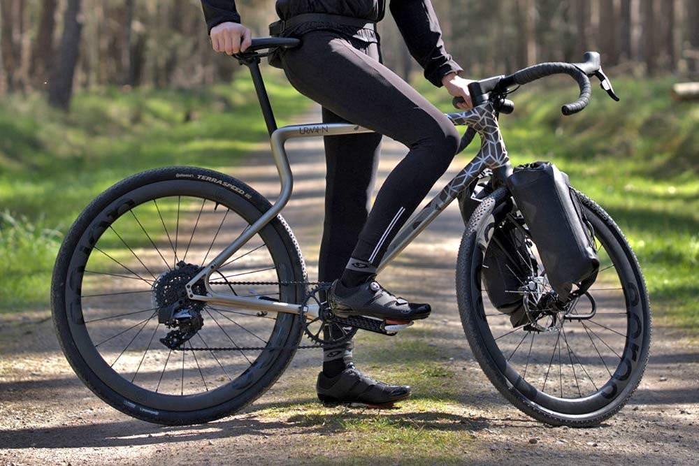 Urwahn Acros EDT gravel bike, limited edition 3D-printed steel no-seattube gravel road adventure bike