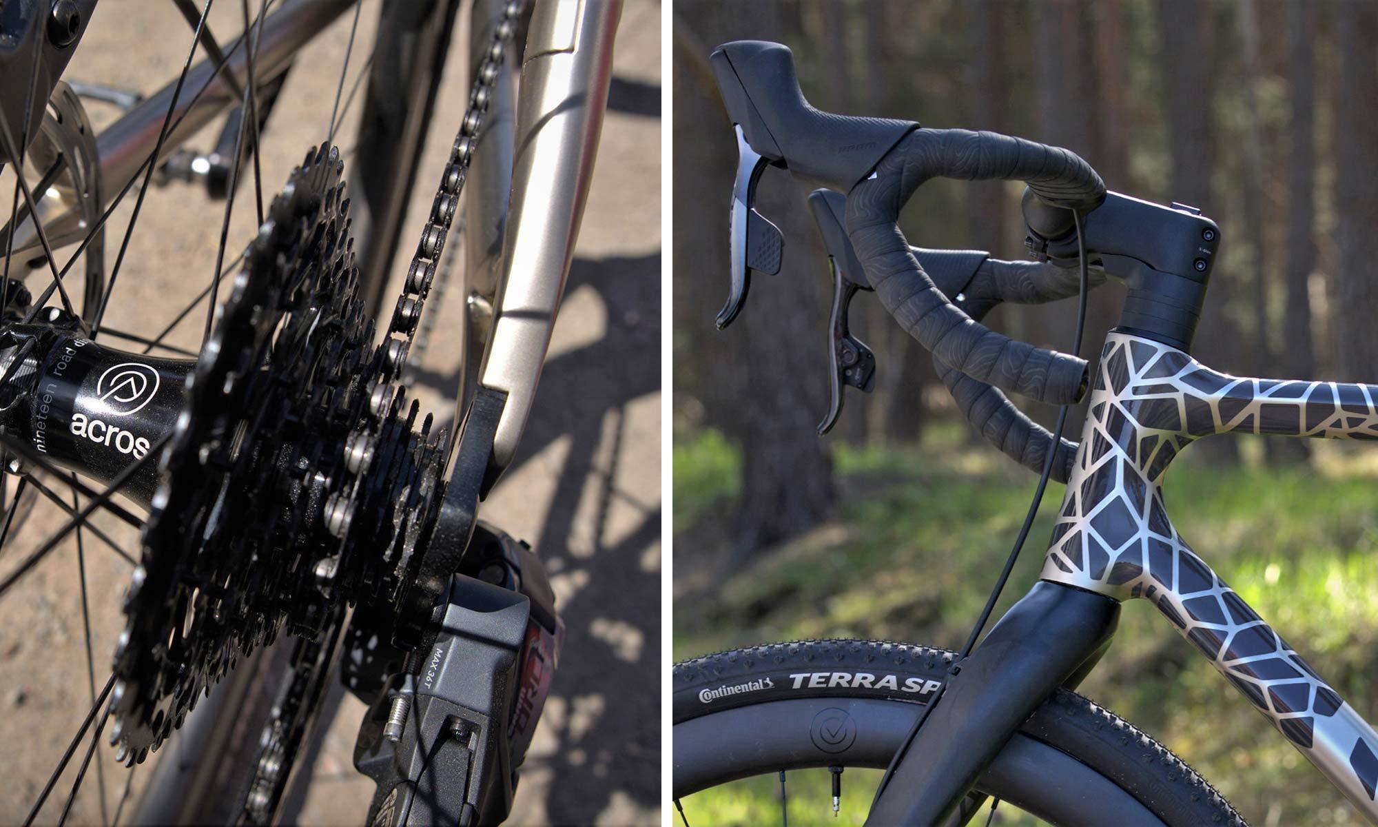 Urwahn Acros EDT gravel bike, limited edition 3D-printed steel no-seattube gravel road adventure bike,details