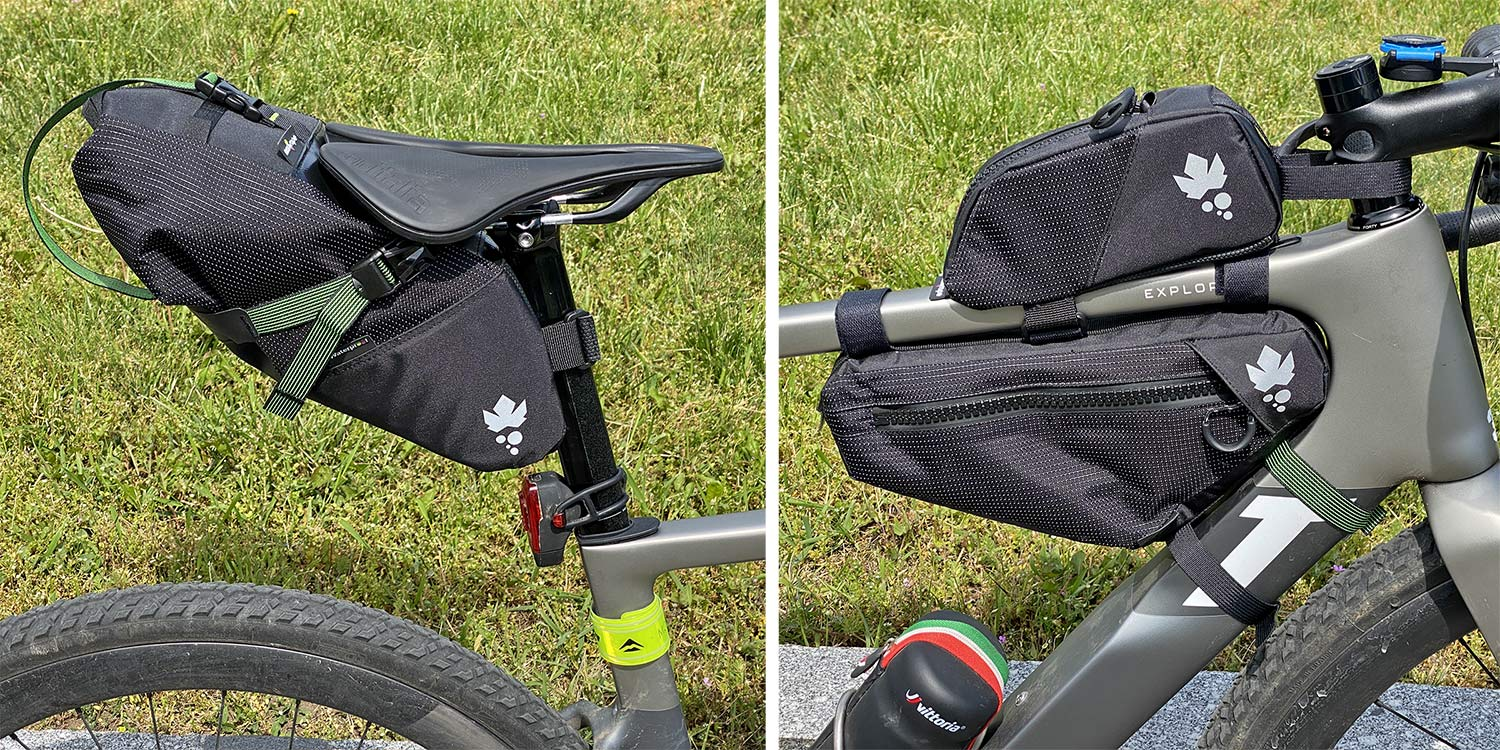 Miss Grape Road Collection packs, light made-in Italy bikepacking bags for fast gravel & road bikes,setup detail