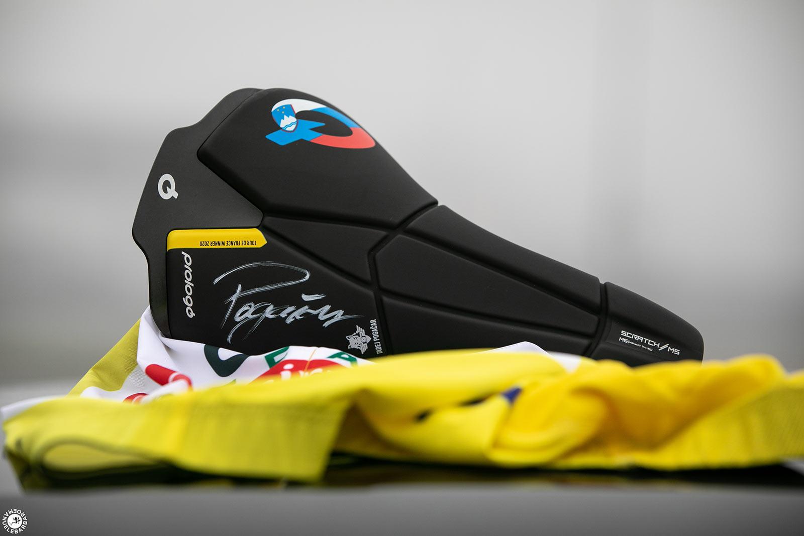 limited edition prologo scratch m5 road bike saddle signed by tour de france winner tadej pogacar