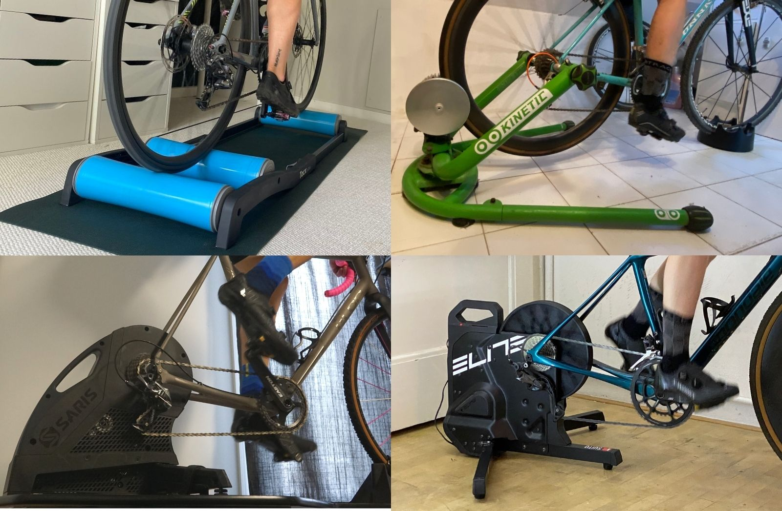 best bike trainers - collage of Kinetic Rock and Roll, Saris H3, Tacx Antares Rollers and Elite Suito