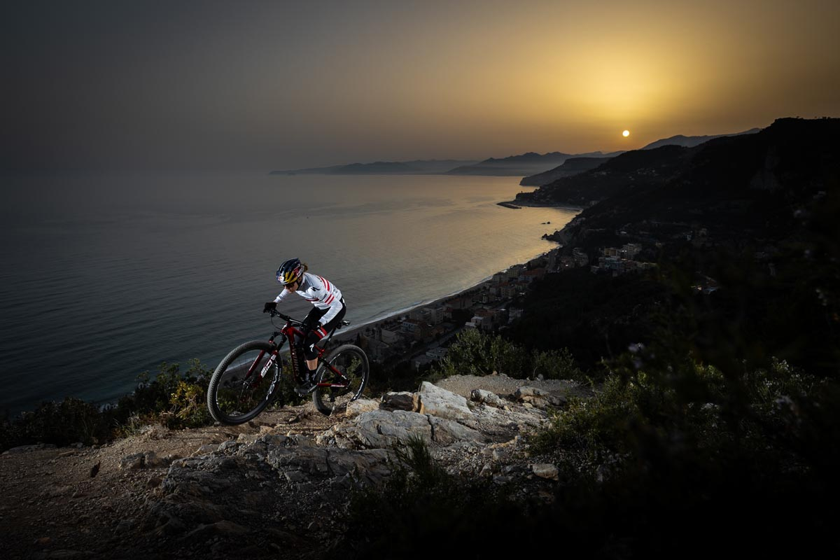 Specialized XC rider at sunset