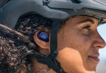 jaybird vista 2 wireless earbuds shown on a cyclist