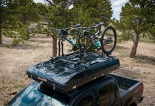 roofnest sparrow adventure rooftop tent with bike trays