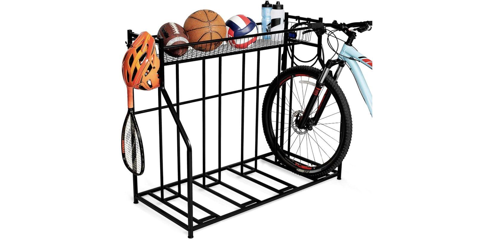 Birdrock 3-Bike Stand Rack with Storage - best bike storage