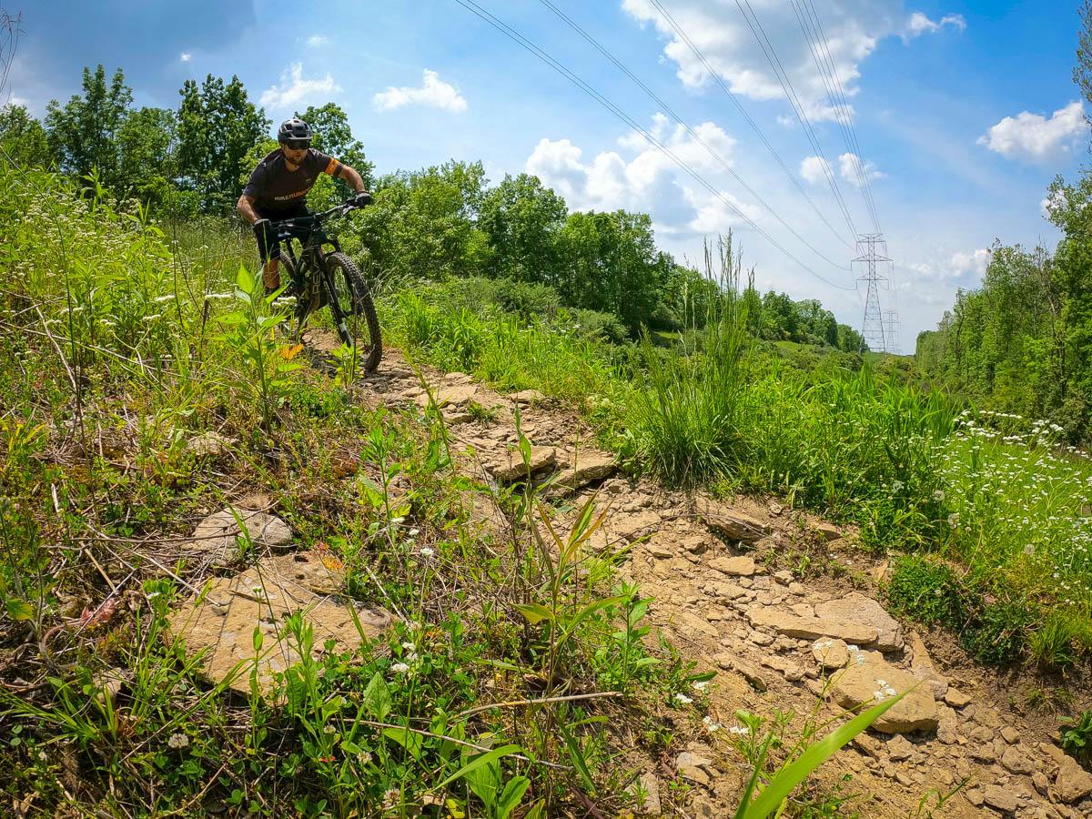 Riding the Revel Ranger on rocky terrain