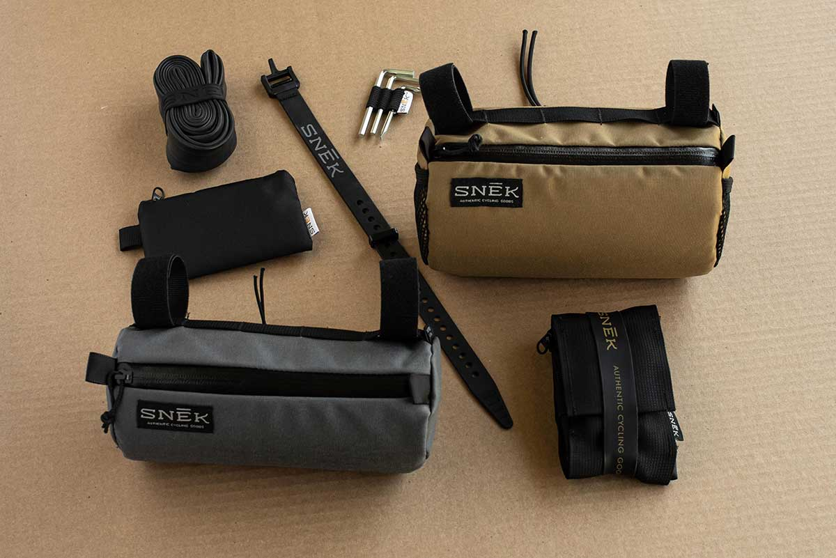 snek stache handlebar bags on-bike storage solutions carrying spares tools