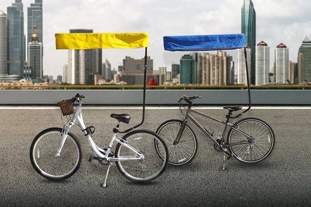 bicycle sun shade canopy blue yellow