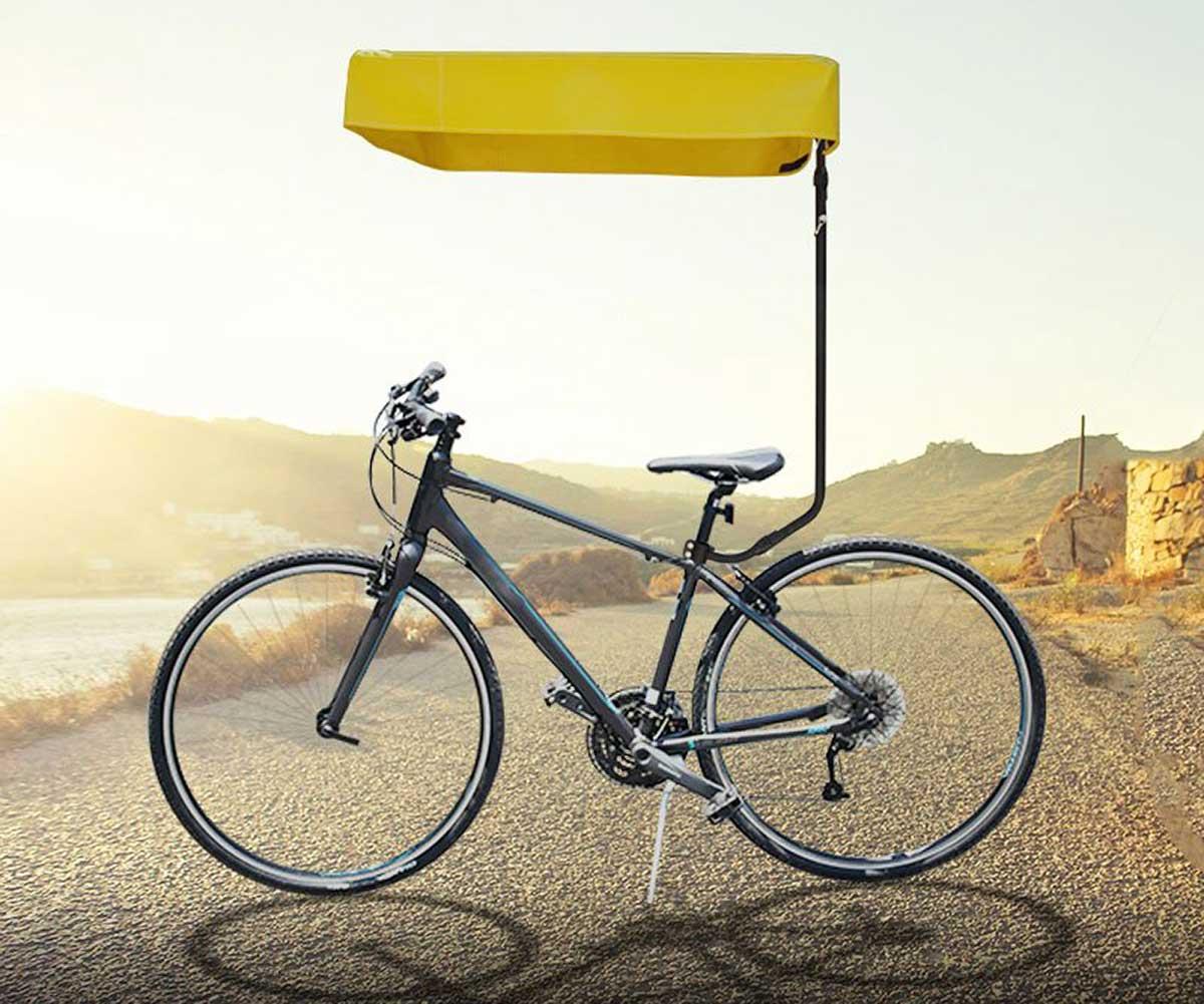 bicycle sun shade yellow canopy