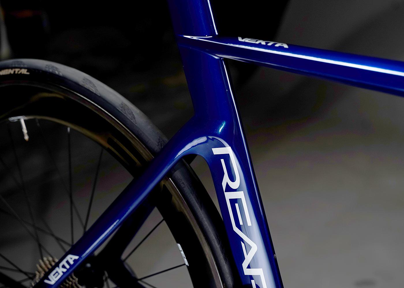 reap vekta aero road bike closeup frame details of seat tube and seatstays
