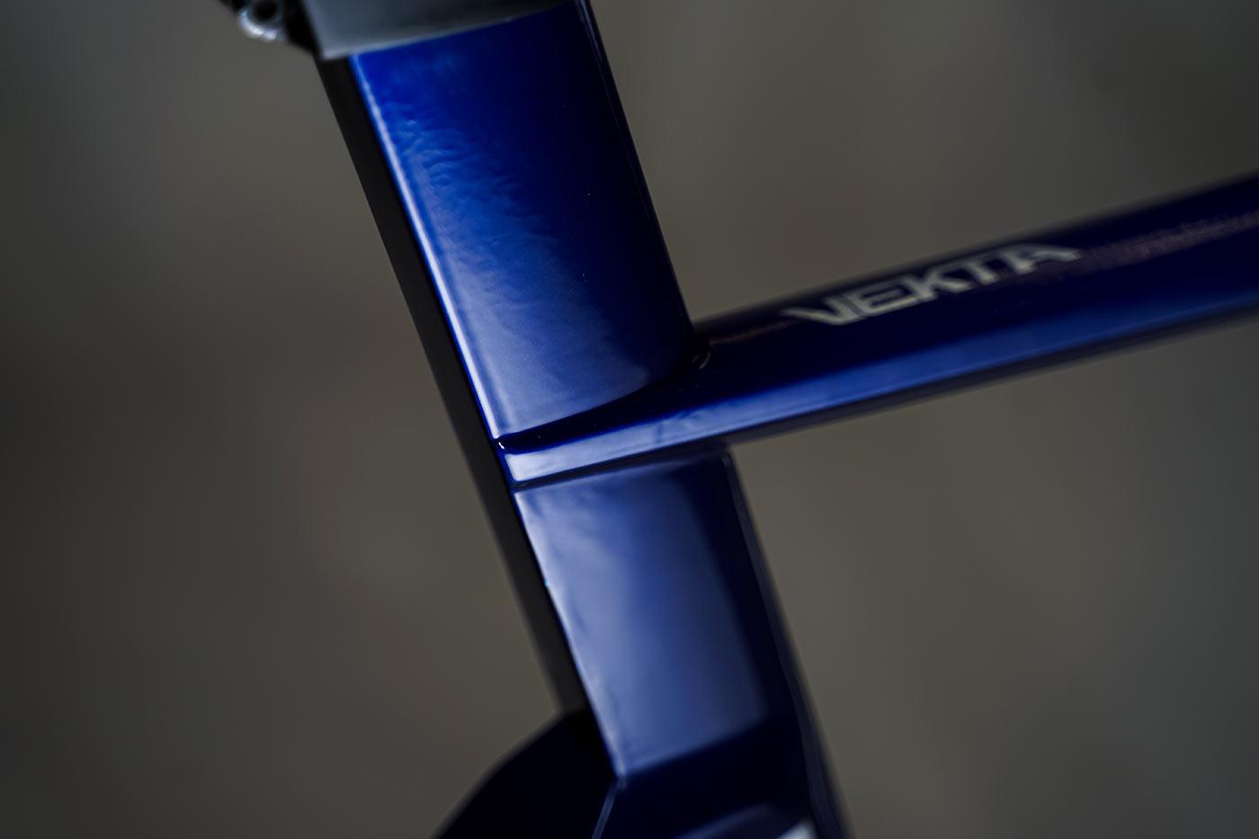 reap vekta aero road bike closeup frame details of seat tube and seat mast
