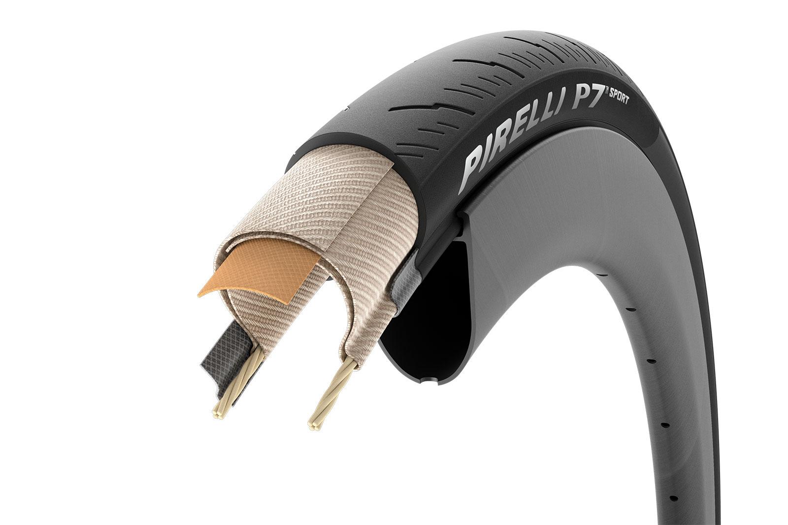 pirelli p7 sport all season road bike tire puncture proof casings layers cutaway