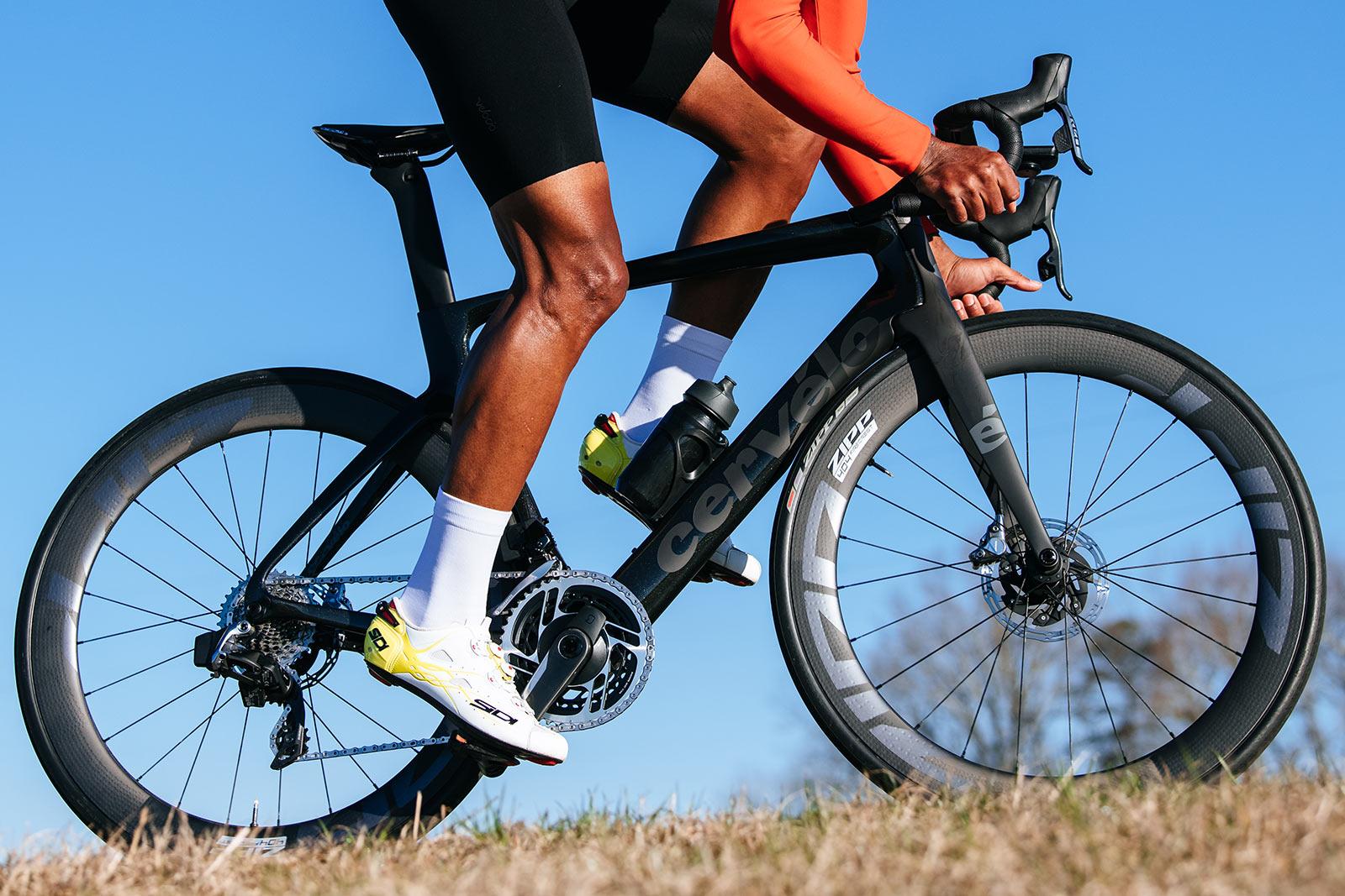 rider on the new zipp 404 firecrest tubeless road racing wheels