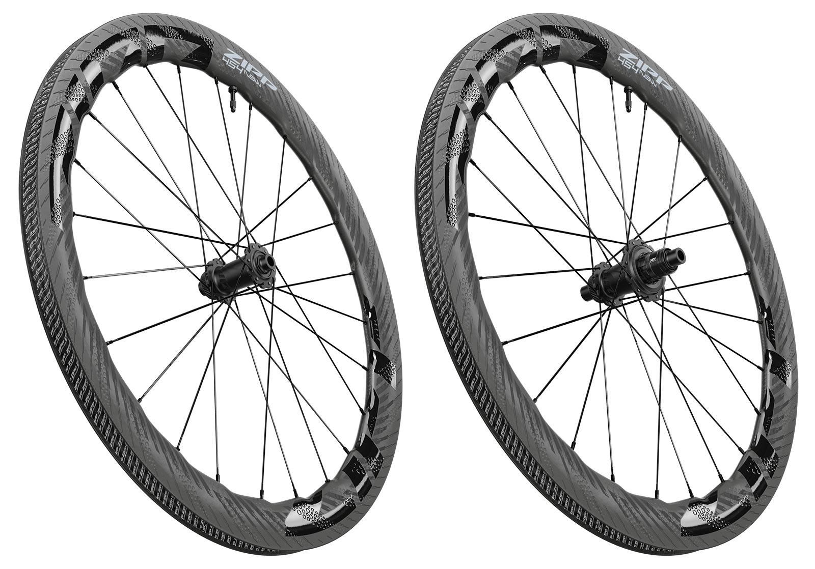 2022 zipp 454 NSW tubeless disc brake road bike wheels angle view