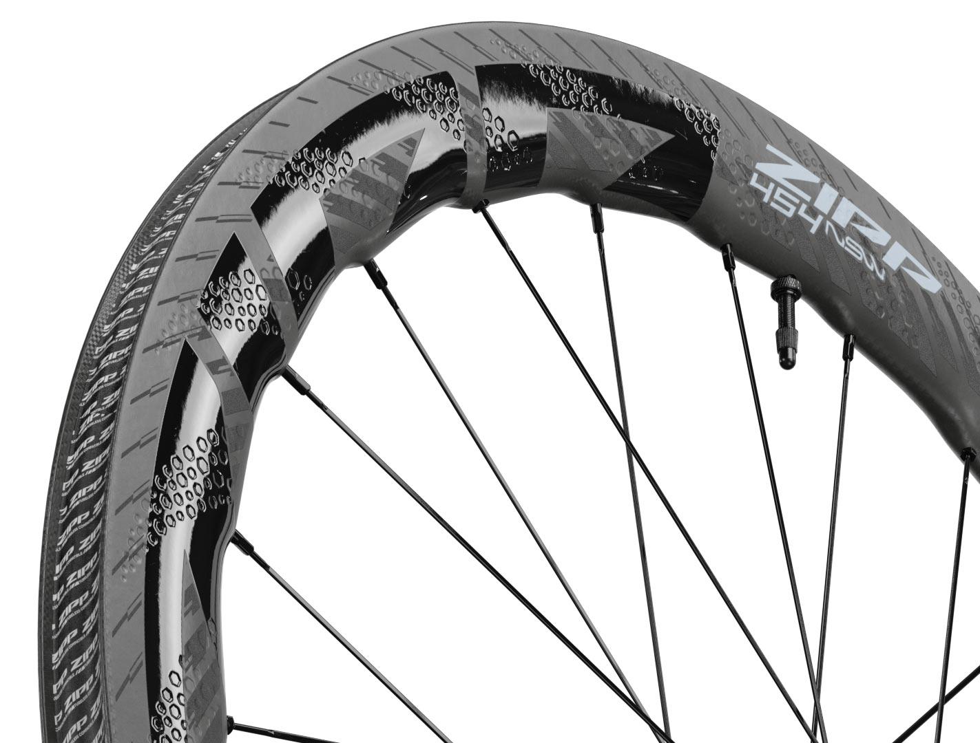 2022 zipp 454 NSW tubeless disc brake road bike wheels closeup detail of dimples