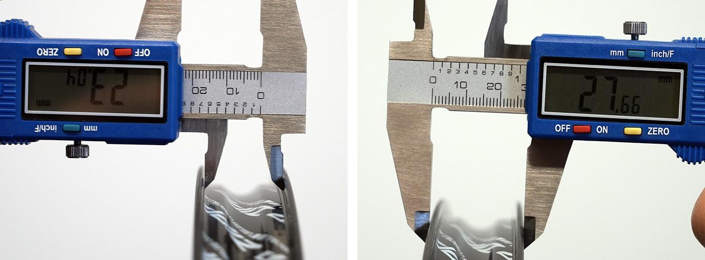 2022 zipp 404 firecrest aero road bike wheel closeup tubeless carbon rim actual widths measured with calipers