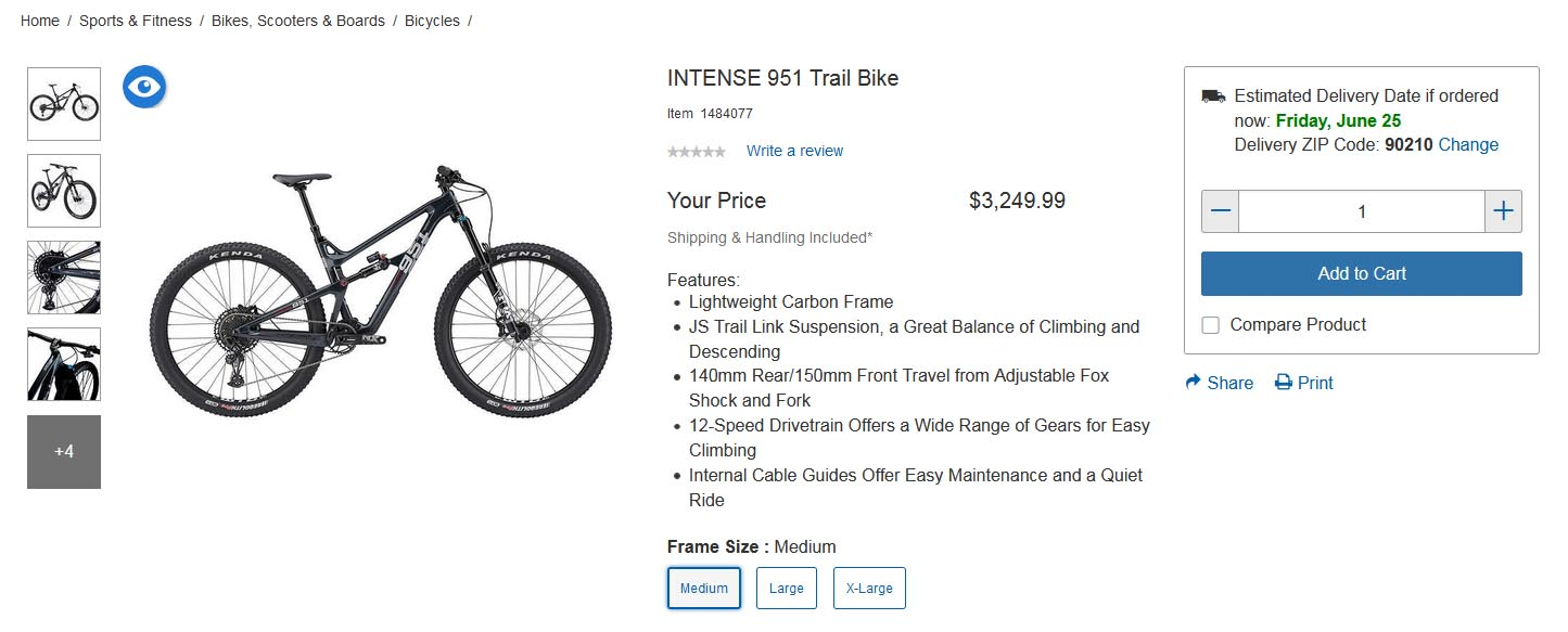 Costco Intense 951 bike specs