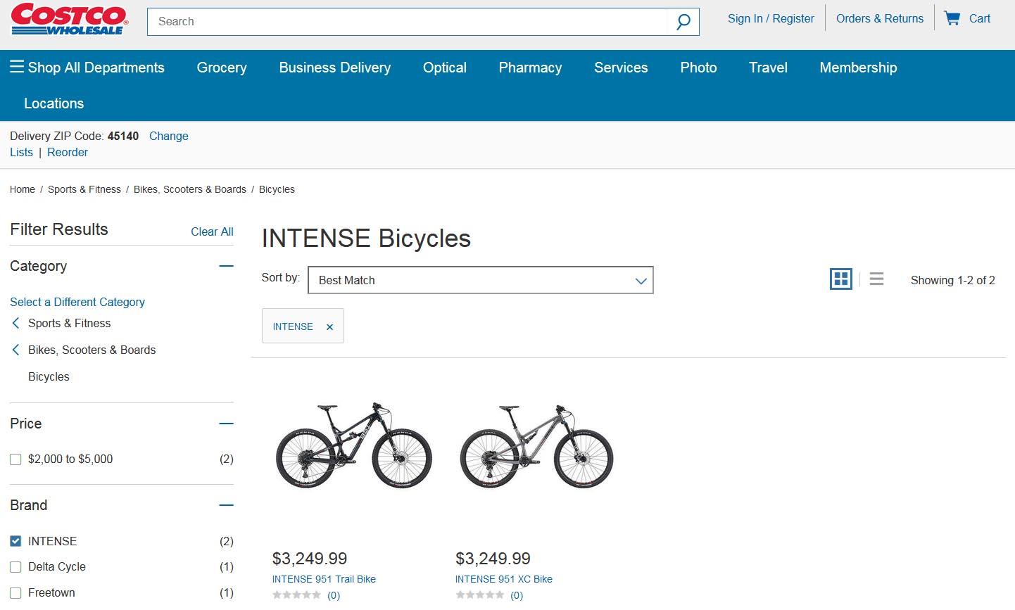 Purchase an Intense 951 mountain bike on Costco.com