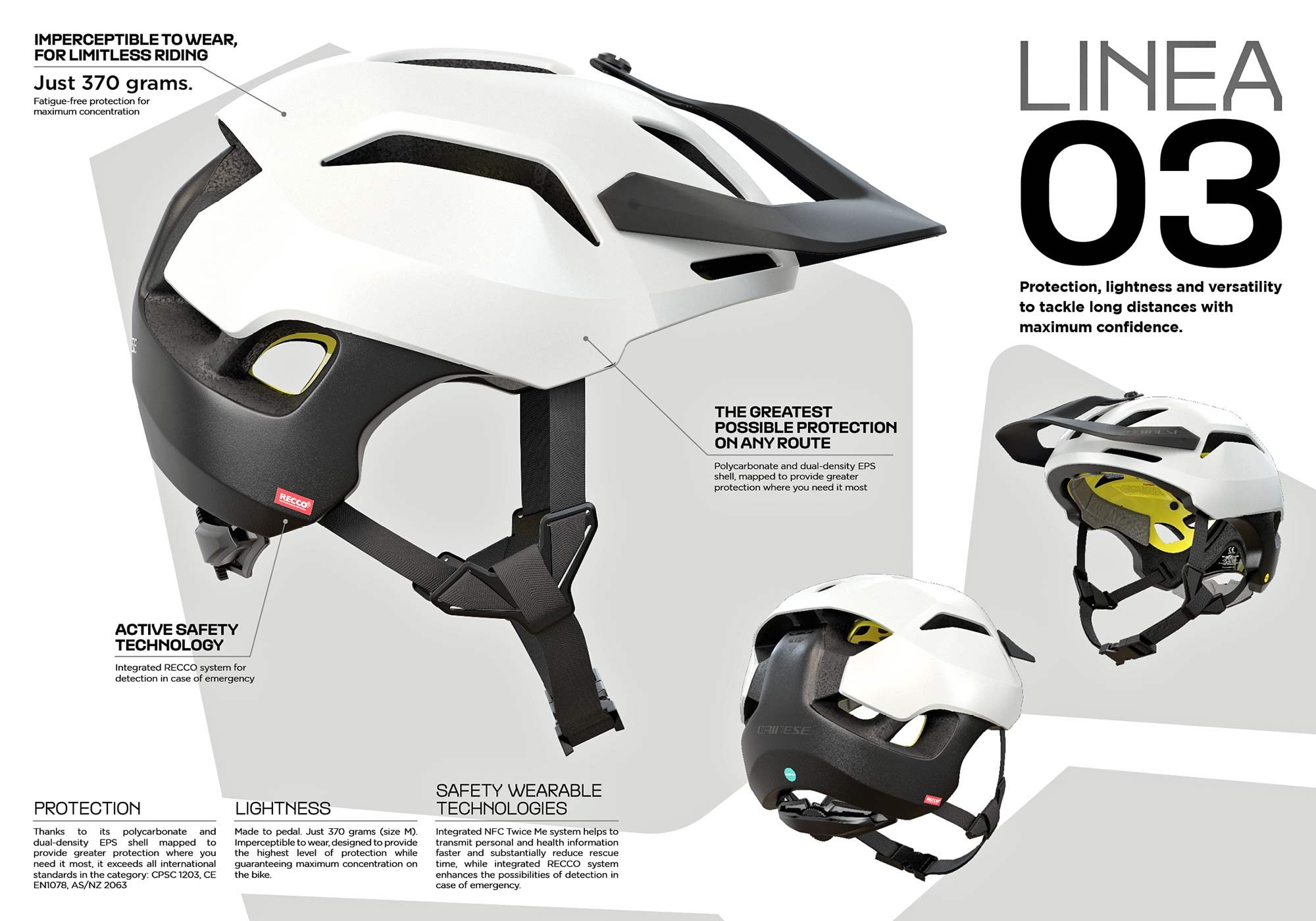 Dainese Linea 03 trail bike half shell helmet, lightweight MIPS Recco MTB protection at 370g, details