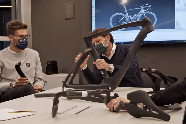 2022 Pinarello Dogma F curvy aero carbon road race bike, disc brake frameset development