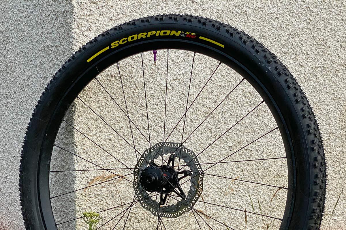 "Pirelli Scorpion XC RC 2.4"" light wide mountain bike cross-country race tire sidewall"