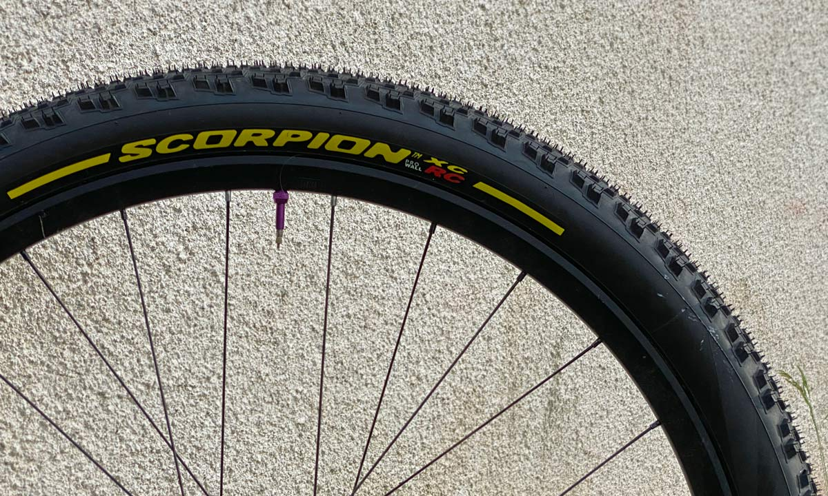 """Pirelli Scorpion XC RC 2.4"""" light wide mountain bike cross-country race tire yellow label only"""