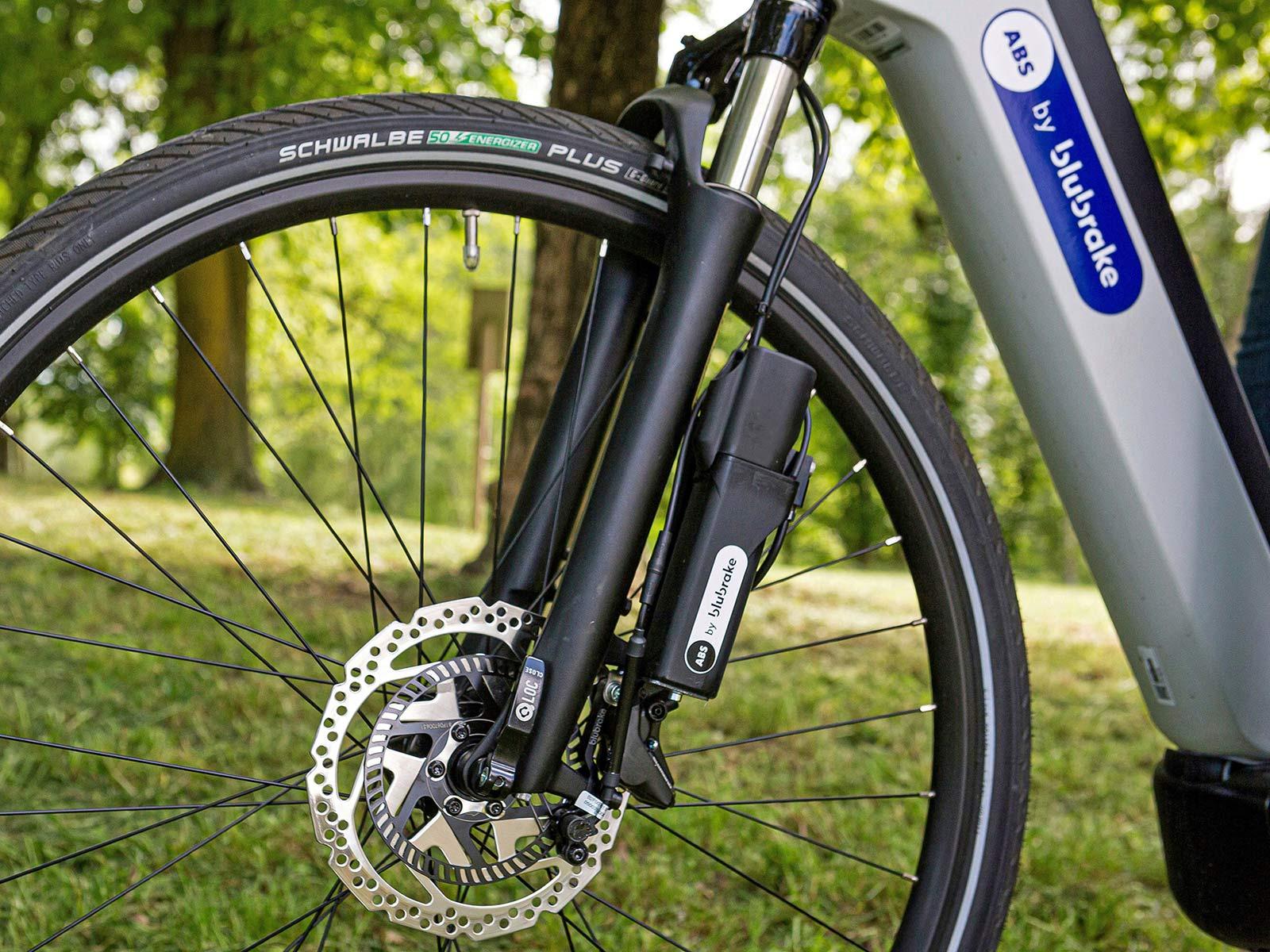 Blubrake ABS G2 bicycle anti-lock braking system, smaller lighter bike antilock brakes,external fork mount
