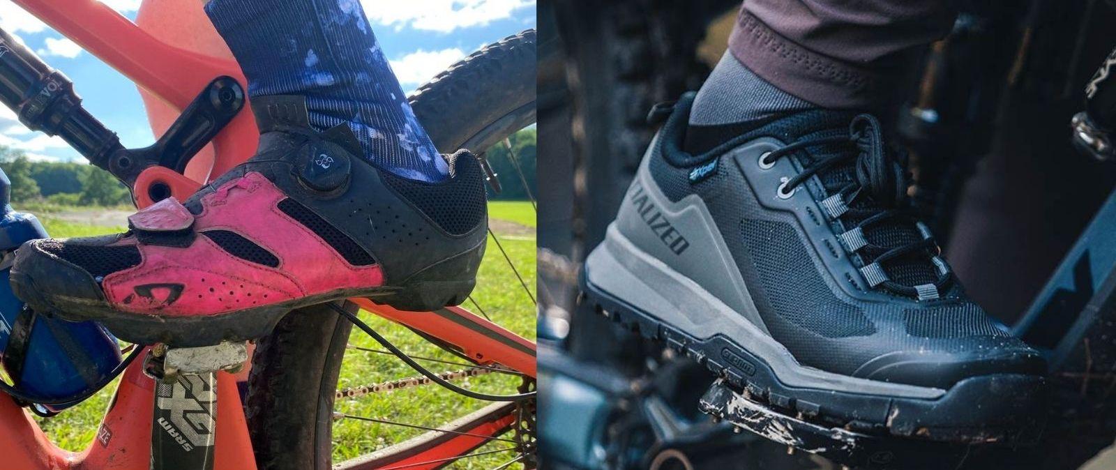 Best mountain bike shoe: clipless on left, flat on right
