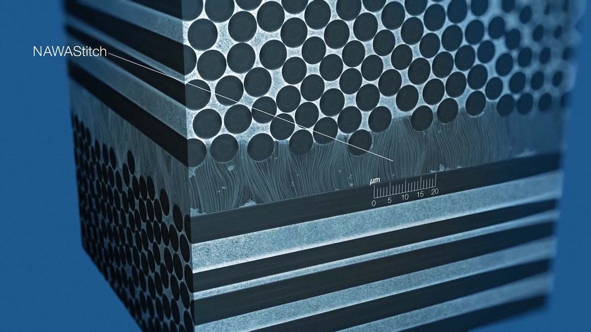 nawastitch vertically aligned carbon nanotubes reinforce interfcae between composite layers add strength