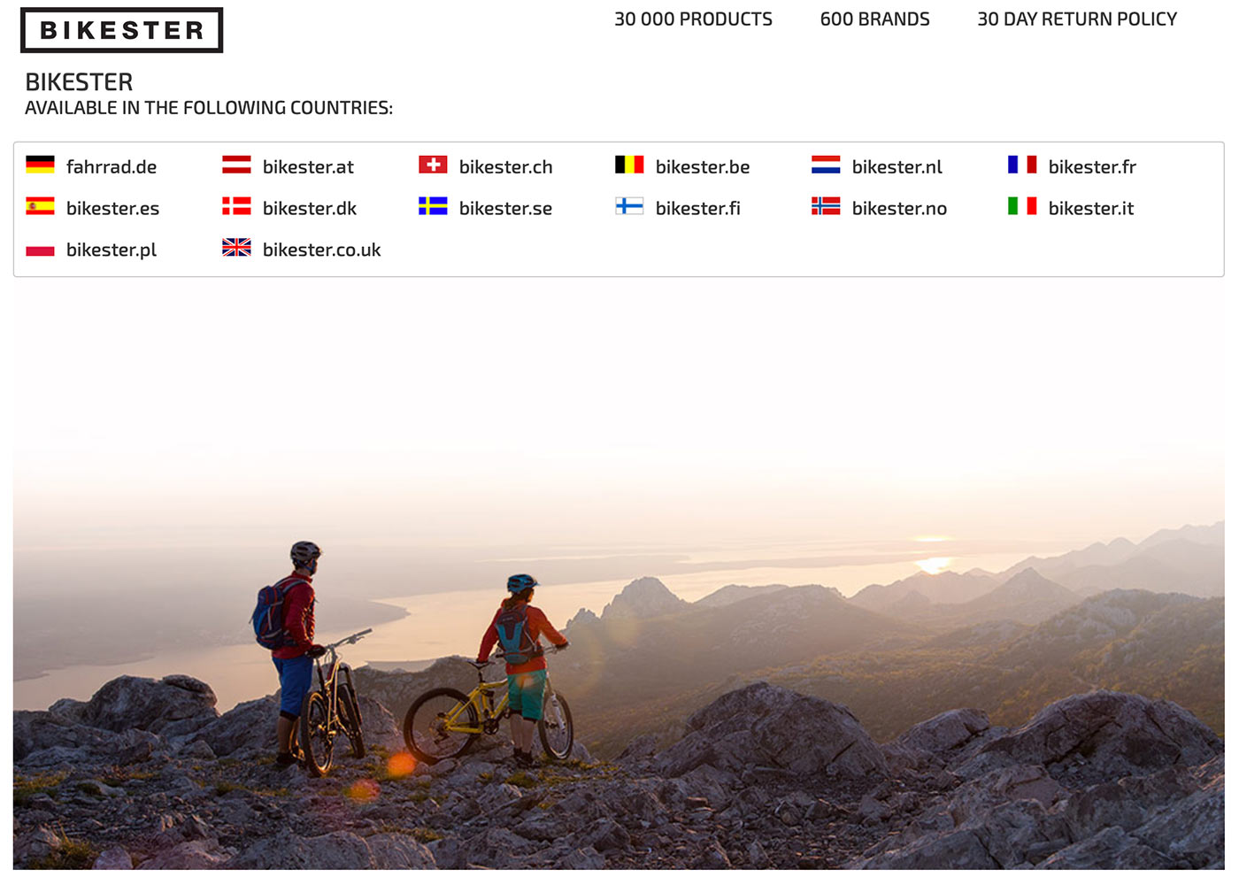 bikester homepage screenshot and country selection