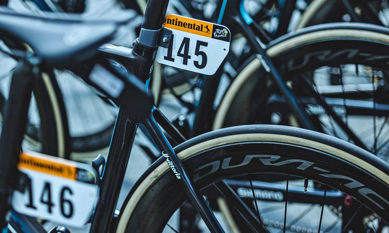 Team DSM carbon tubular Shimano wheels at Tour de France, photo by CAuldPhoto