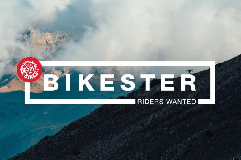 bikester company profile logo over rider on a mountain