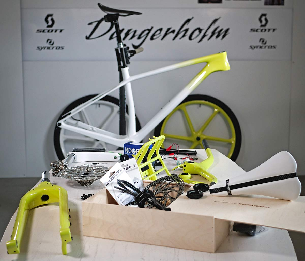 Dangerholm mellow yellow Scott Scale Gravel custom project bike, Gustav Gullholm dream bike builder, photo by Andreas Timfalt,build kit
