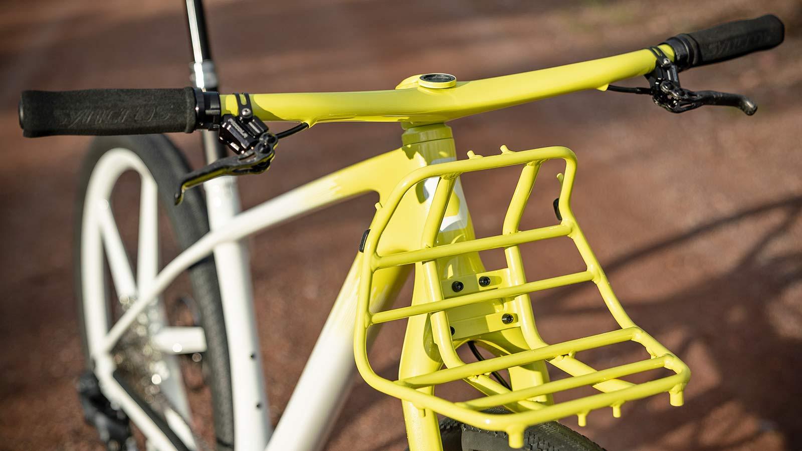 Dangerholm mellow yellow Scott Scale Gravel custom project bike, Gustav Gullholm dream bike builder, photo by Andreas Timfalt,front rack