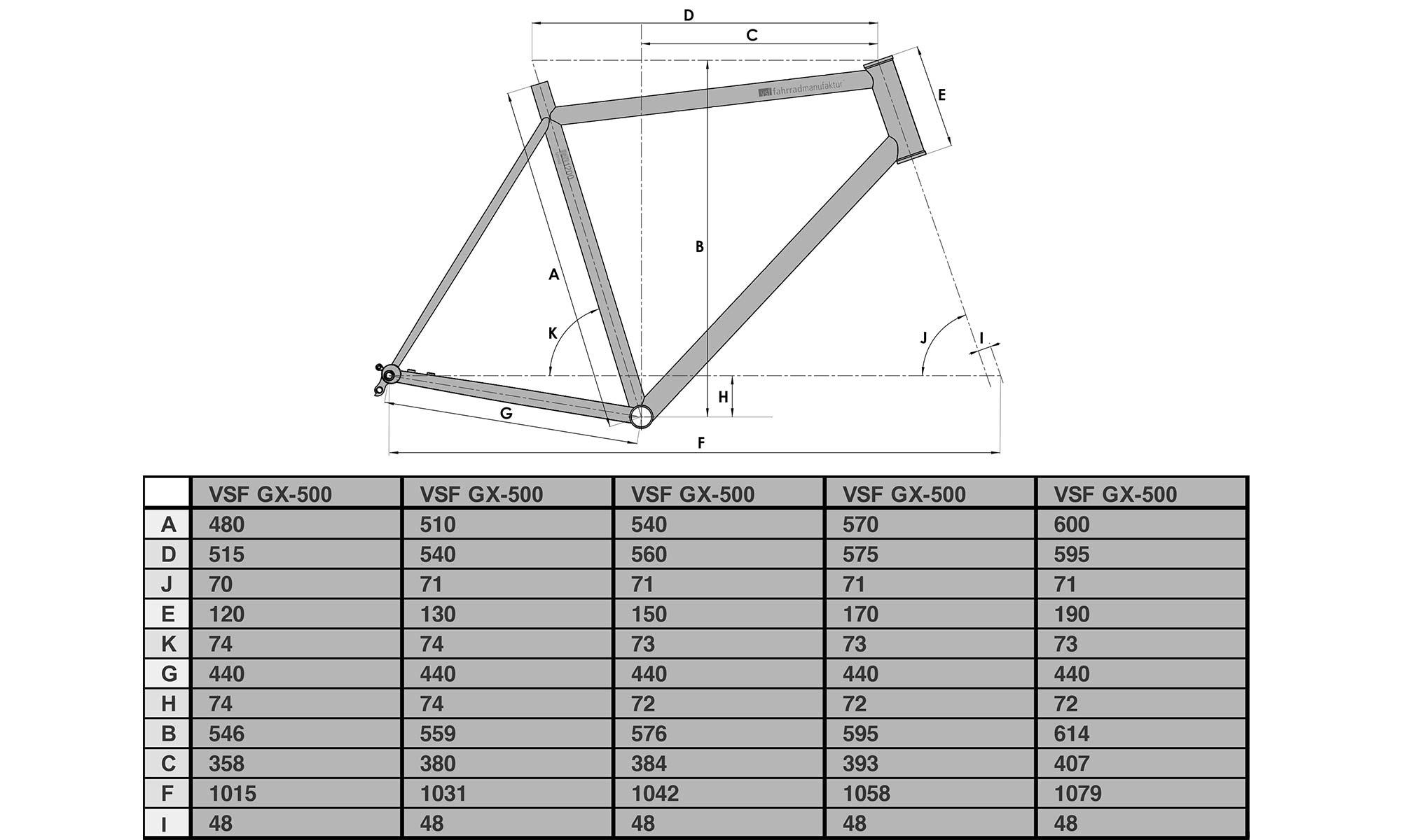 VSF Fahrradmanufaktur GX-1200 limited edition steel gravel bike, made-in-Germany, geometry