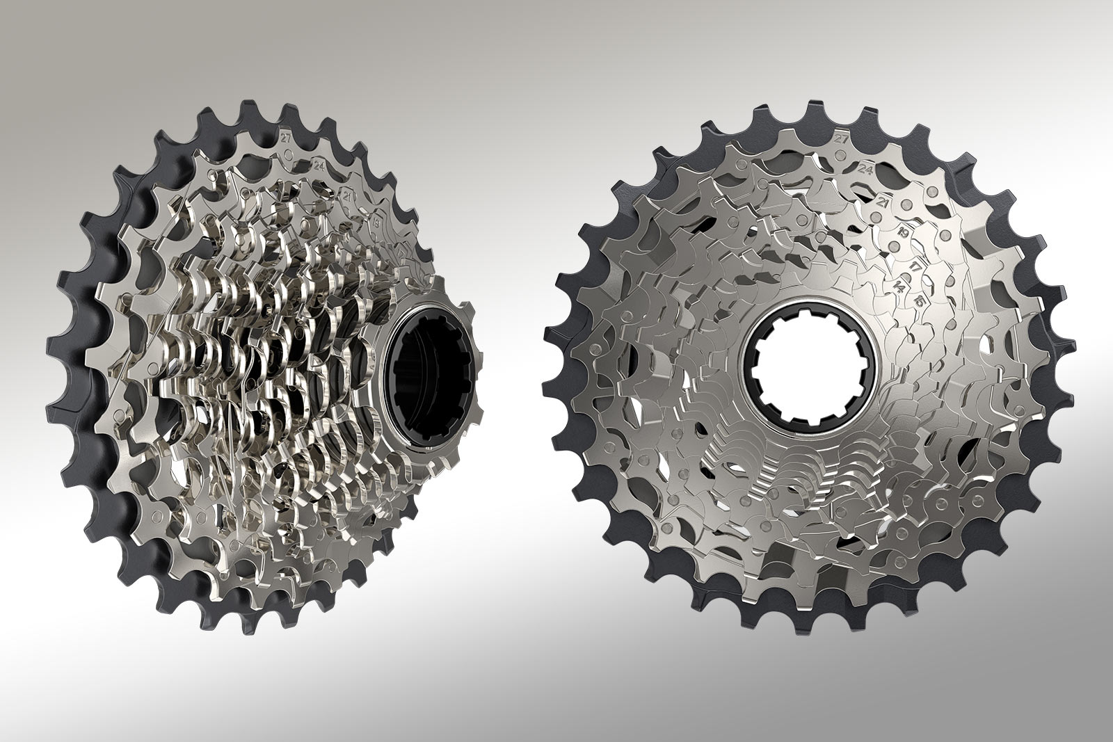 new 10-30 sram force XG-1270 12-speed cassette shown from the front and side angles