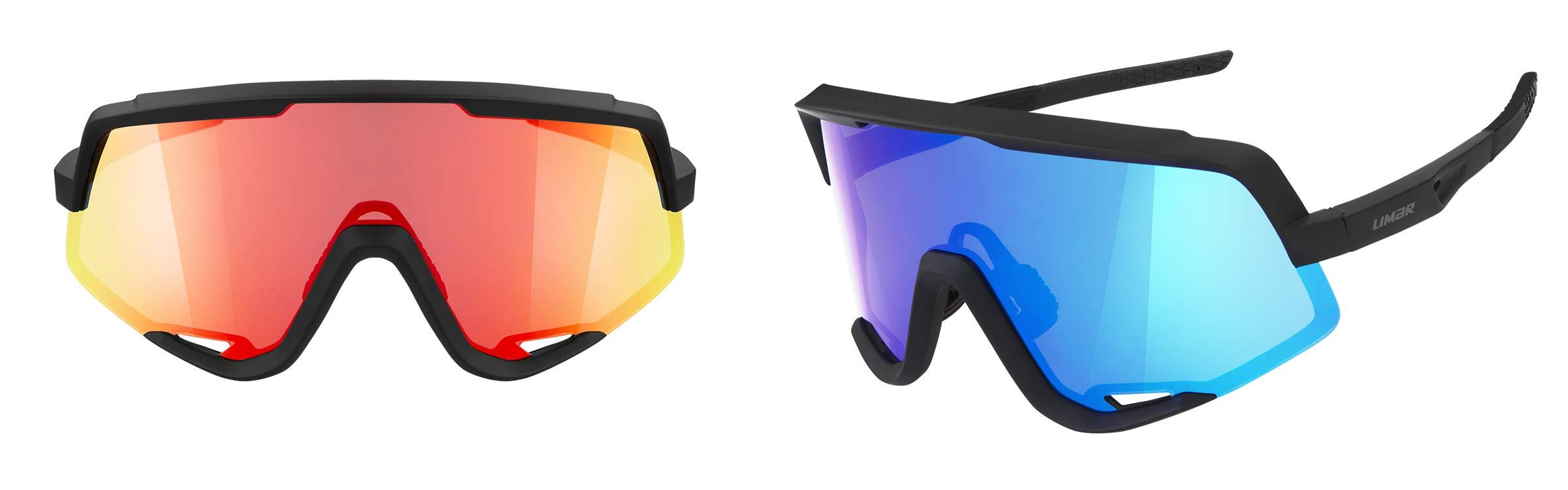 Limar Caos sunglasses matte black red or blue lens