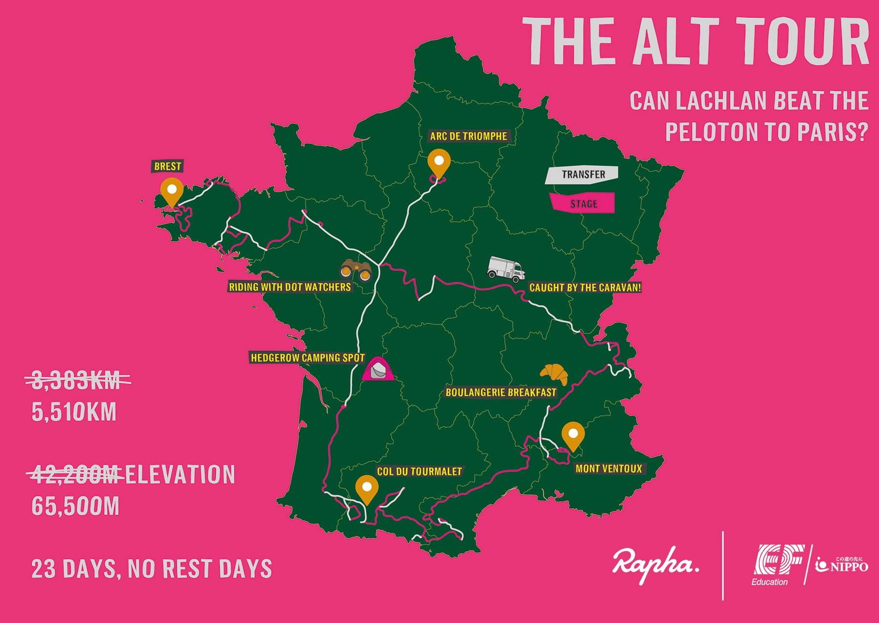 Lachlan Morton Alt Tour de France_ultra distance bikepacking charity ride, photo by Rapha, route