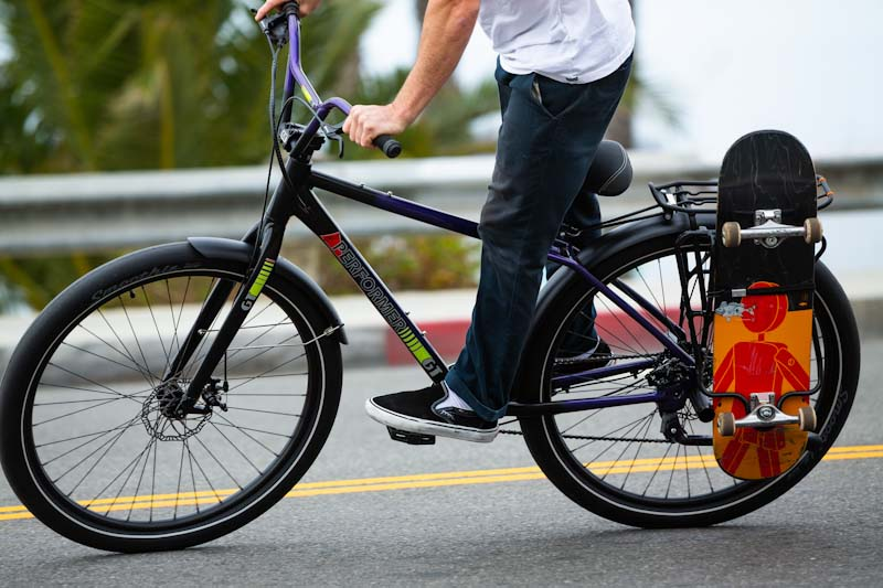 GT Bicycles Street Performer with skateboard rack for bike