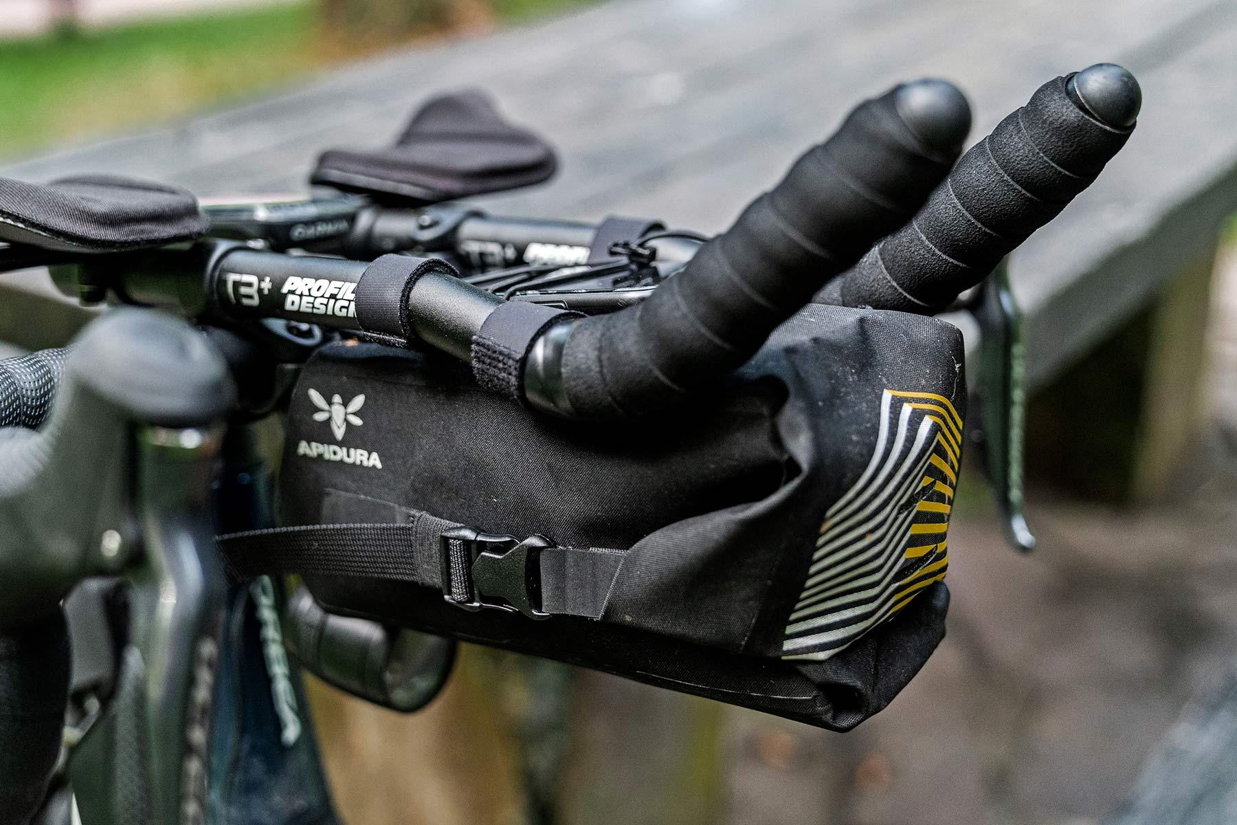 Apidura Racing Aerobar Pack out-front aero bar extension bikepacking bag, angled