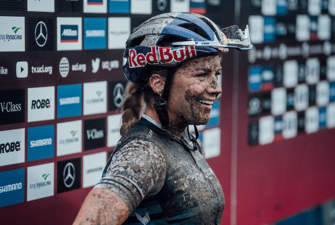 Evie Richards after a muddy race