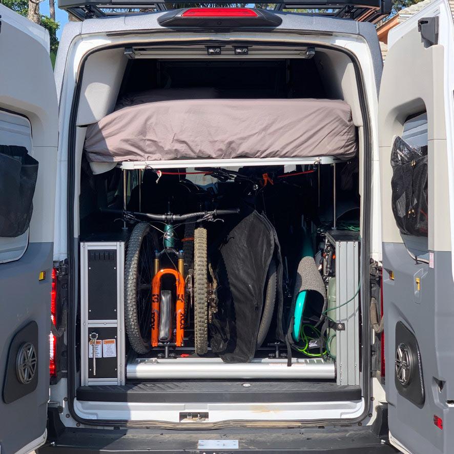 charging an e-bike off of a camper van battery bank from solar power