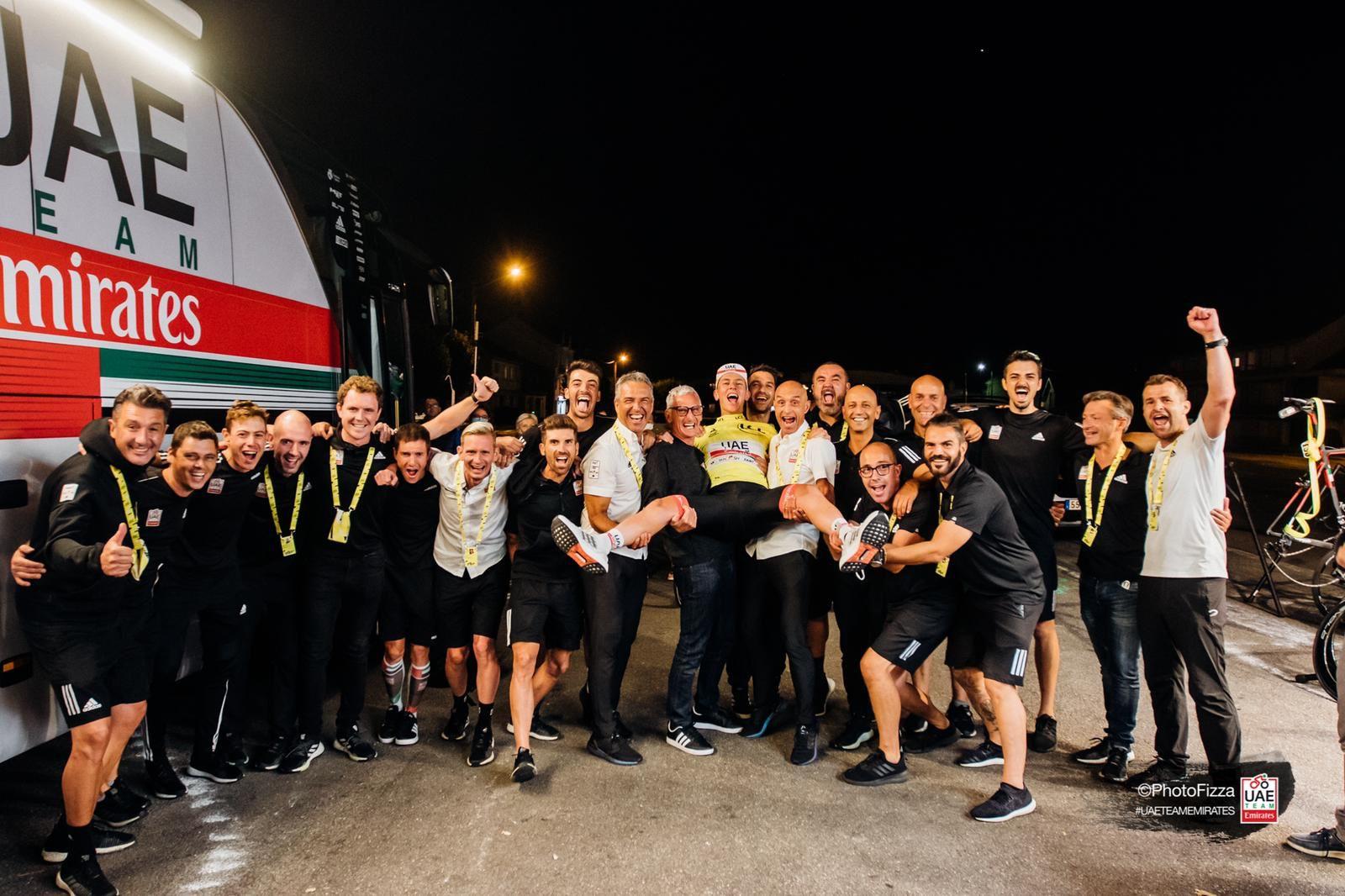 2020 Tour de France Winner Tadej Pogacar and team