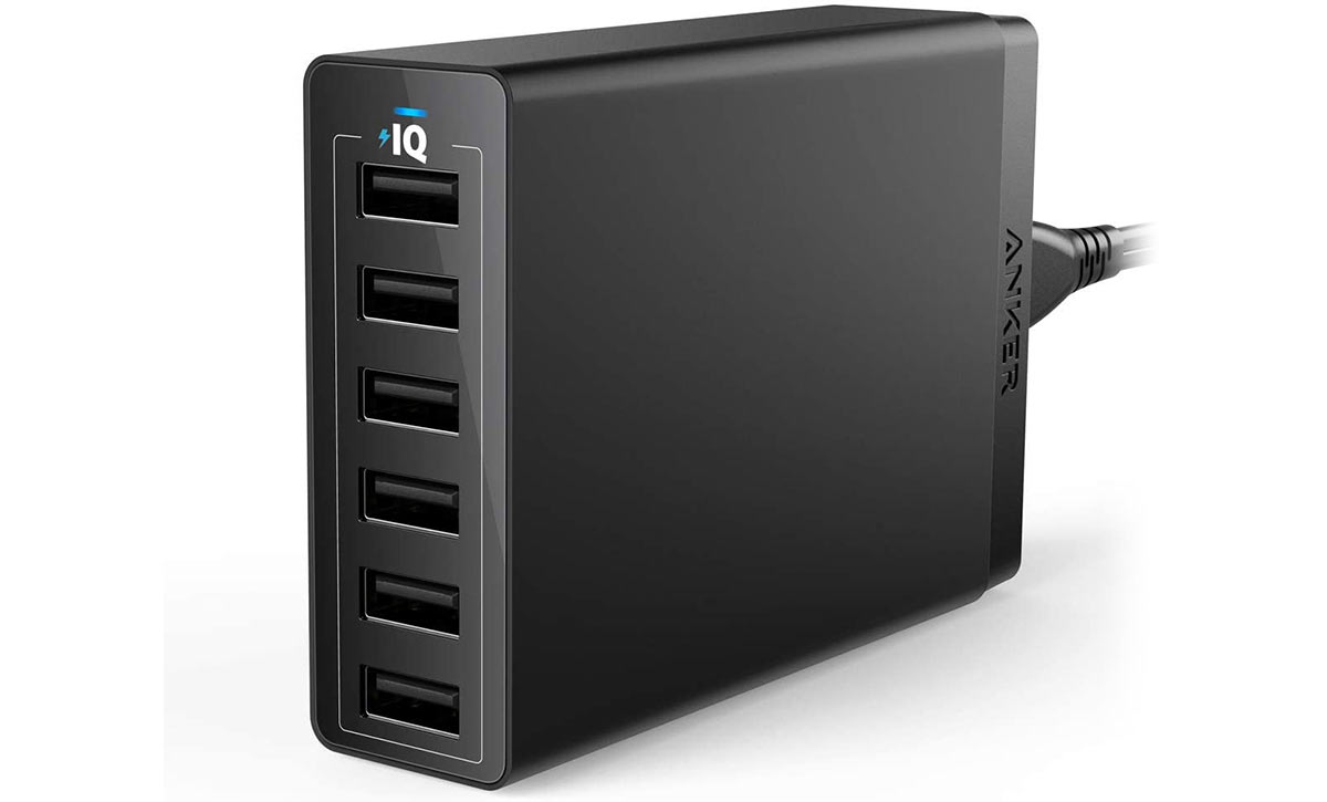 anker 6 port usb charging bank for bike lights and cycling computers