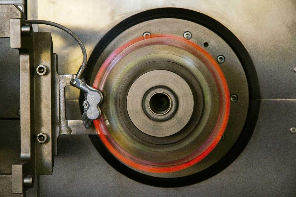 galfer brake disc testing rig heat damage