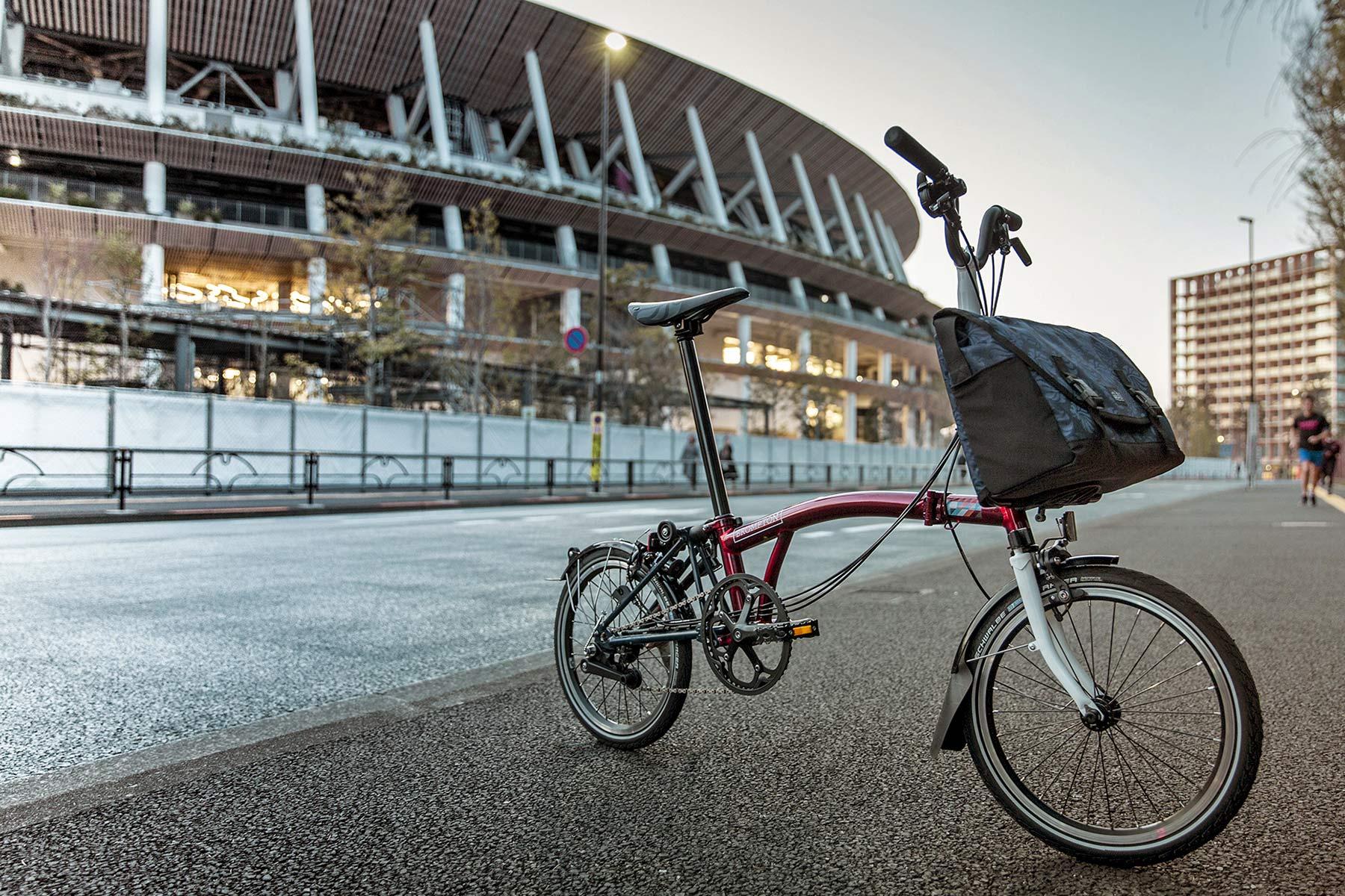 Brompton x Team GB folding bike, Tokyo 2020 Olympic limited edition, Brooks C17 Cambium all-weather saddle,stadium