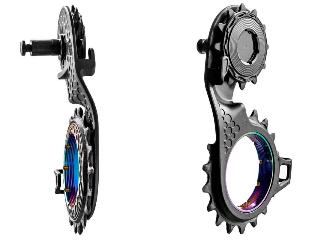 Absolute Black carbon-ceramic Hollow Cage low friction upgrade, angled details