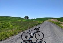 bikerumor pic of the day a gravel bike is posed in the middle of a wide gravel road with rolling hills of green grass on either side the sky is clear and the sun is high and bright.