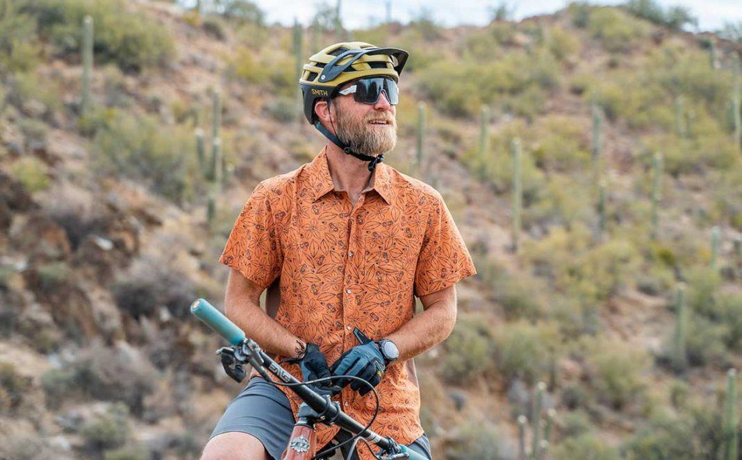 club ride clip print mens mountain bike snap shirt